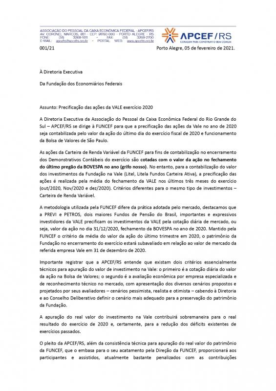Carta enviada à Funcef