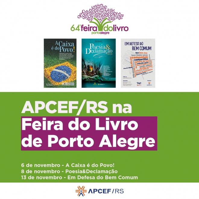 APCEF convida para sessões de autógrafo de três obras na Feira do Livro de Porto Alegre